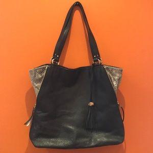 Stella & Dot Black Pebbled Leather Large Bag